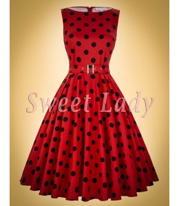 Roztomilé červené retro šaty s černými tečkami