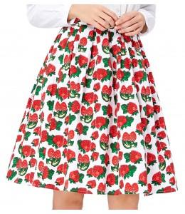 Roztomilá jahodková sukňa vo vintage štýle