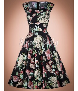 Kvetinové šaty so širokou sukňou z rokov 1950