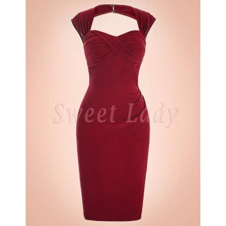 Elegantné priliehavé červené šaty z rokov 1950 020