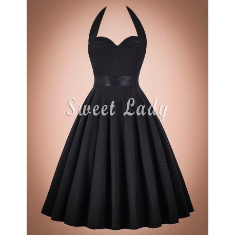 Retro čierne šaty s viazaním okolo krku