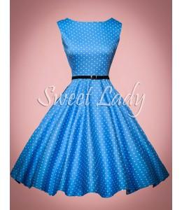 Modré retro šaty s bílými puntíky