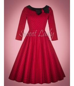 Červené bodkované retro šaty s mašľou