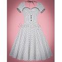 Biele bodkované šaty v štýle retro