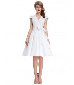 Letné biele vintage šaty