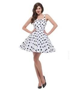 Biele retro šaty z čiernymi bodkami