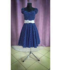 Jednoduché puntíkované šaty modré barvy