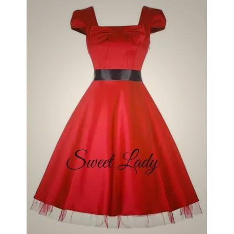 Elegantné červené šaty v štýle vintage