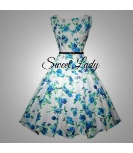 Hezké bílé šaty z modrými kvítky
