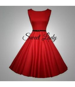 Hezké červené šaty z áčkovou sukní