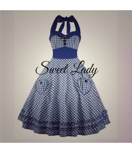 Modré kostkované retro šaty