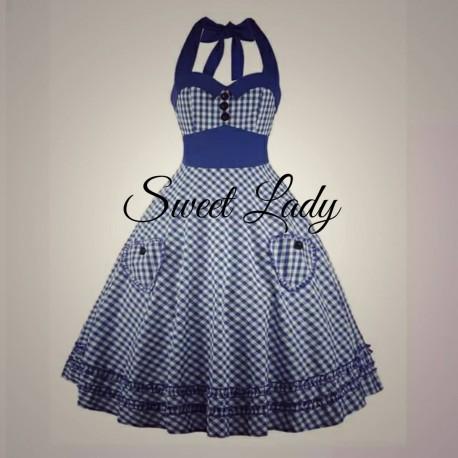 Modré kockované retro šaty