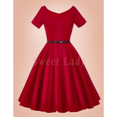Červené šaty v retro štýle so širokou sukňou 029
